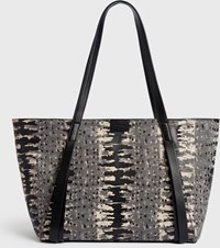 Allsaints Holston Small East West Leather Tote Bag Grey Multi
