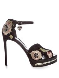 Alexander Mcqueen Poppy Embroidered Suede Sandals Black Multi