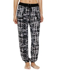 Kensie Elastic Cuff Jogger Pants Black Plaid