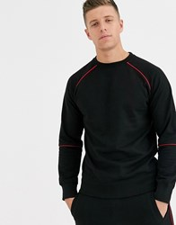 Another Influence Crew Neck With Red Piping Black