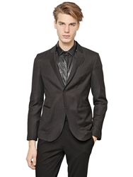 Emporio Armani Wool Broken Pinstriped Jacket Charcoal