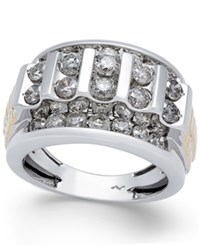 Macy's Men's Diamond Cluster Two Tone Ring 3 Ct. T.W. In 10K Gold And White Gold