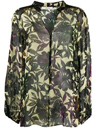 Dorothee Schumacher Sheer Floral Blouse Green