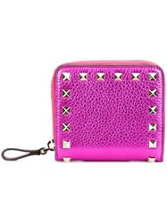 Valentino 'Rockstud' Compact Wallet Pink And Purple