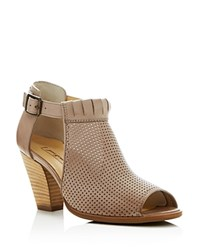 Paul Green Colleen Perforated Peep Toe Cutout Booties Taupe