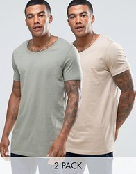 Asos 2 Pack Longline T Shirt With Raw Scoop Neck In Beige Green Blonde Mangrove Multi