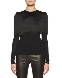 Tom Ford Knit Long Sleeve Top W Fringe Capelet Black