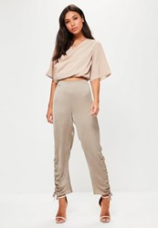 Missguided Tall Grey Hammered Satin Ruched Trousers