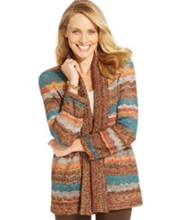 Alfred Dunner Multi Print Pointelle Knit Cardigan