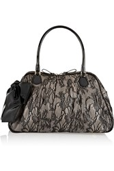 Valentino Bow Embellished Lace Tote Black