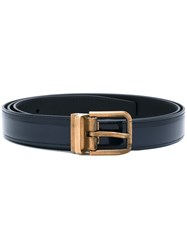 Dolce And Gabbana Gold Buckle Belt Men Calf Leather 110 Blue