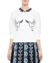 Mary Katrantzou Dove Embroidered Poplin Top White