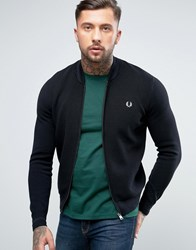Fred Perry Texture Knit Bomber Stripe Zipthru In Black Black