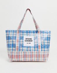 Opening Ceremony Dual Colour Medium Check Tote Blue