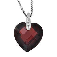 Jools By Jenny Brown Rhodium Plated Silver Cubic Zirconia Heart Shaped Pendant Red Garnet
