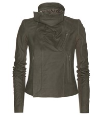 Rick Owens Classic Biker Brushed Leather Jacket Green