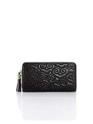 Shanghai Tang Cloud Quilted Leather Zip Around Wallet Black