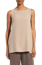 Eileen Fisher Women's Long Bateau Neck Silk Shell Mocha