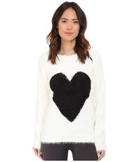 P.J. Salvage Black Heart Cozy Sweater Ivory Women's Sweater White