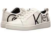 Calvin Klein Danya White Black Logo Print Leather Women's Shoes Beige