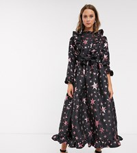 Sister Jane Midaxi Dress With Fuffle Front And Full Skirt In Star Jacquard Black