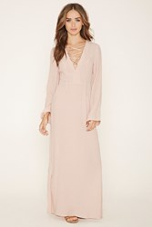 Forever 21 High Slit Lace Up Maxi Dress