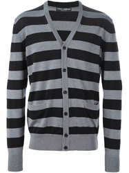 Dolce And Gabbana Striped Cardigan Grey