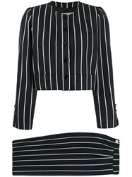 Yves Saint Laurent Pre Owned Striped Two Piece Suit Black