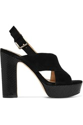 Michael Michael Kors Mariana Suede And Snake Effect Leather Platorm Sandals Black