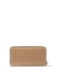 Christian Louboutin Panettone Spike Embellished Leather Wallet Tan