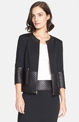 St. John Quilted Leather Trim Milano Knit Jacket Caviar