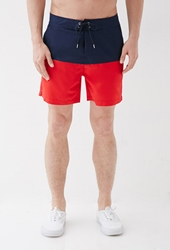 Forever 21 Colorblocked Swim Trunks Navy Red