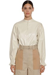 Msgm Buttoned Faux Leather Shirt Ivory