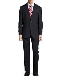 Hugo Boss Pasolini Movie Wool Blend Two Piece Suit W Pinstripe Print Navy