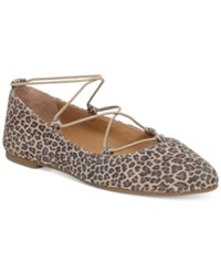 Lucky Brand Women's Aviee Elastic Lace Up Ballet Flats Women's Shoes Sesame Leopard