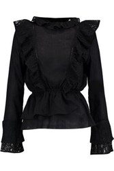 W118 By Walter Baker Cassie Ruffled Cotton Top Black