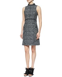 Proenza Schouler Sleeveless Stand Collar Tweed Dress Size 6 White Black