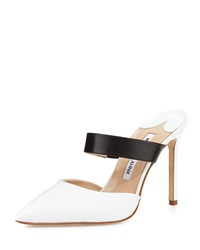 Manolo Blahnik Trovina Two Tone Leather Point Toe Mule Black White