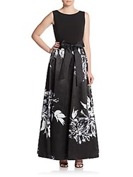Ellen Tracy Combo Floral Print Ball Gown Black Ivy