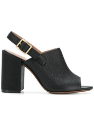 L'autre Chose Open Toe Mules Black