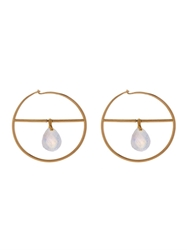Marie Helene De Taillac Rainbow Moonstone And Yellow Gold Pure Hoop Earrings