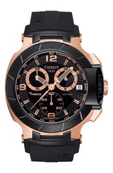 Tissot Men's T Race Chronograph Silicone Strap Watch 50Mm Black Rose Gold