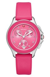 Michele Women's 'Cape' Topaz Dial Silicone Strap Watch 34Mm Hot Pink