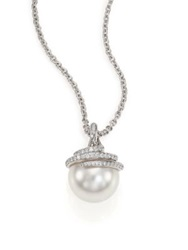 Mikimoto Twist 11Mm White Cultured South Sea Pearl Diamond And 18K White Gold Pendant Necklace
