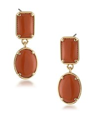 1St And Gorgeous Double Drop Cabochon Stone Earrings Gold