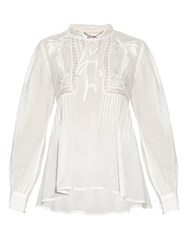 Muveil Palm Tree Embroidered Cotton Top White