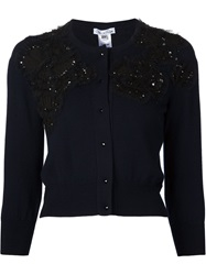 Oscar De La Renta Beaded Cardigan Blue
