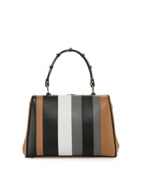 Prada Striped Leather Arcade Satchel Bag Multi