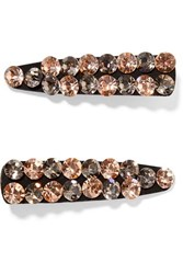 Valet Monique Set Of Two Crystal Embellished Canvas Hair Clips Black