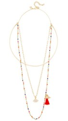 Rebecca Minkoff Layered Seed Bead Collar Necklace Gold Warm Multi